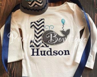 Boys Whale 1st Birthday outfit shirt or t shirt - Smash Cake outfit - Custom Birthday outfit Whale
