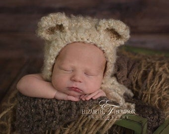 Baby Bear Hat, Bear Hat in Size 0-3 mos, Bonnet, Teddy Bear Hat, Photo Props, Photography Props, Newborn, Baby Shower Gift, Baby Gift