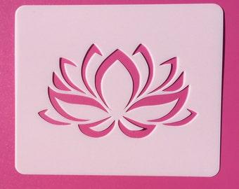 Lotus Flower Stencil, Reusable Stencil, Namaste Lotus Stencil, Flower Stencil, Mylar Stencil, LF1
