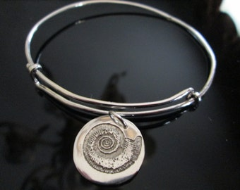 REDUCED PRICE  Adjustable Sterling Bangle Bracelet  with Etched Nautilus Shell Charm
