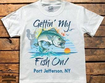 Gettin My Fish On, Kids tees, fishing tees, fish, striped bass, striper, jumping, custom, t-shirt,