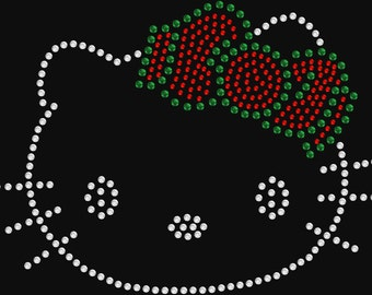 Christmas Kitty Rhinestone Transfer