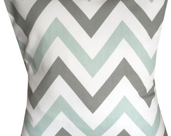 Designer retro grey mint chevron zigzag pattern funky cushion cover