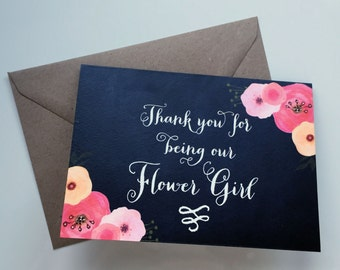 Flower Girl Thank You card. Bridesmaid. Wedding. Thank You. Chalkboard. Floral.