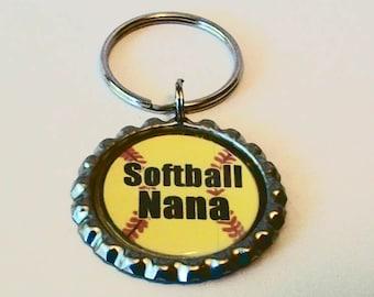 Unique Yellow Softball Nana Grandmother Metal Flattened Bottlecap Keychain Great Gift