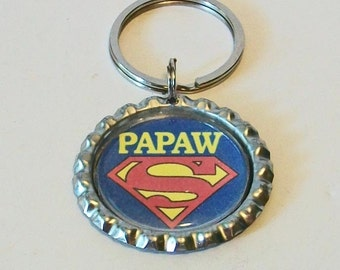 Super Papaw Red and Blue Granfather Metal Flattened Bottlecap Keychain Great Gift