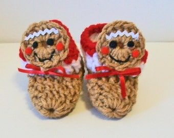 Adorable Tan Gingerbread Man Cookie Hand Crocheted Baby Bootie Shoes Great Photo Prop Matching Hat & Bib Also Available