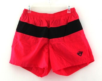 Vintage 80s shorts swim trunks neon red ocean pacific op
