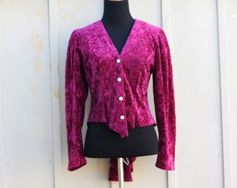 Burgundy Velvet Top - 90s Grunge Blouse - Hi Low Top - Long Sleeve Velvet Shirt - Goth Punk Top - Lolita Top - 1990s Velour Top - Velveteen