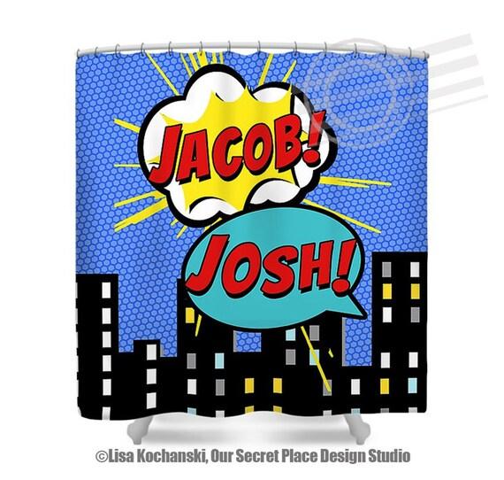 Superhero shower curtain superhero bathroom decor childrens for Superhero shower curtain