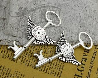 5pcs 78x46mm Cute Antique silver wing clock Keys Charm  Pendant