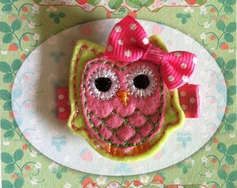 Lime Green and Pink Owl Hair Clip