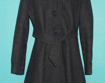 70s Vintage Grey Wool Blend Ladies Mid-Length Hoody Coat — wonderful condition! — Size Medium, 8-10