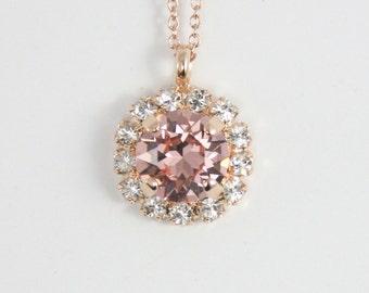 Blush necklace,crystal necklace,Swarovski necklace,blush wedding jewelry,blush bridesmaid necklace,blush bridal necklace,pendant necklace