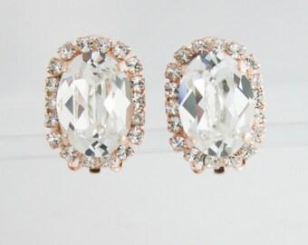 Clip on bridal earrings,clip on earrings,bridal earrings,oval earrings,clip earrings,statement earrings,Swarovski,clear crystal earrings