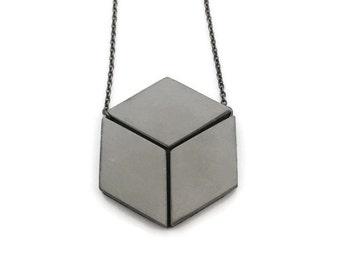 Concrete cube illusion necklace