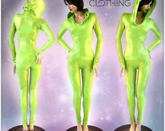 Spacey Stacey Neon Alien Green Holographic Hooded Spandex Catsuit Self Lined Hood 153949
