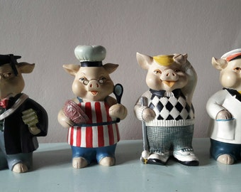 Collection of Four Vintage Pigs