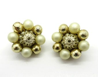 Faux Pearl Japan Earrings, Vintage Goldtone Bead Earrings, Cluster Clip-on Earrings