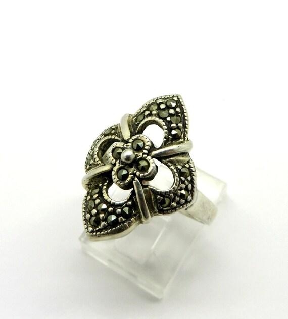 vintage marcasite ring sterling silver by leesvintagejewels