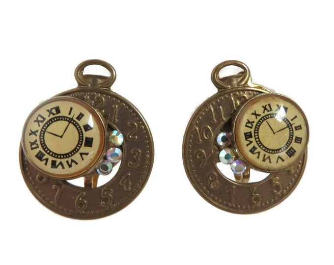 Pocket Watch Earrings, Vintage Copper Toned Earrings, Clip-on Earrings, Rhinestone Studded Novelty Clock Earrings