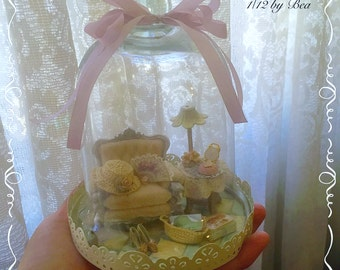 OOAK 1/12 display dome lady scene miniature - dolls house - hand made - shabby style