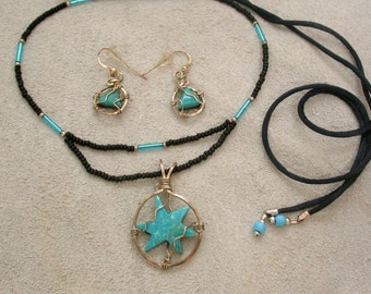 Turquoise Star Necklace & Earring Set