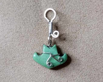 Green Varisite Cowboy Hat Pendant/ Charm/ sterling silver