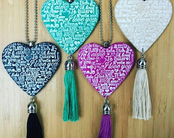 Heart Necklace with black tassel