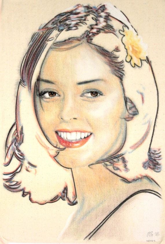 One-off, hand-drawn portrait of Rose McGowan, in charcoal and pastel on calico