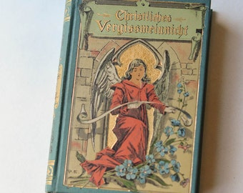 Antique German Religious Book Christian Forget-Me-Not