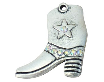 3 Silver Cowboy Boot Charm with AB Crystal Accents 34x31mm by TIJC SP1310