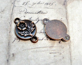10 Antique Copper Connectors Small Round Flower Pattern 10mm