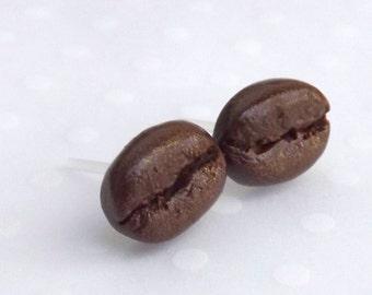Coffee Bean Earrings, Food Earrings, Coffee Earrings, Food Jewelry, Hypoallergenic for Sensitive Ears