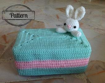 Crochet Pattern  : Bunny Tissue Box Holder
