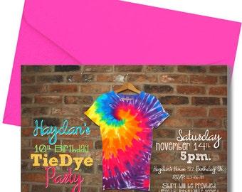 Tie Dye Party Invitation - Hip - Teens or Tweens - Digital or Printed