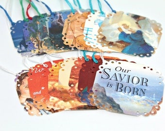 Christmas Nativity Gift Tags, Recycled Christmas Cards, Re-purposed, Set of 20