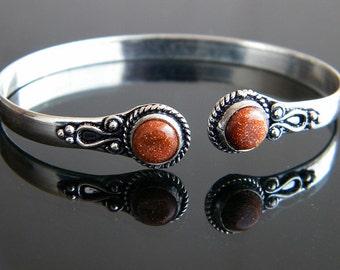 Sunstone Bracelet, Silver plated Bracelet, Tribal Bracelet, Metal Cuff Bracelet, Tribal Silver Plated Bracelet, Bangle Bracelet SH-659