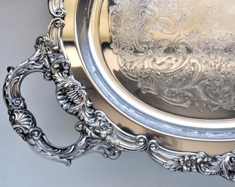 Large Silver Plate Waiter Serving Tray Poole