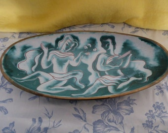 fabulously fifties large earthenware boat shaped platter