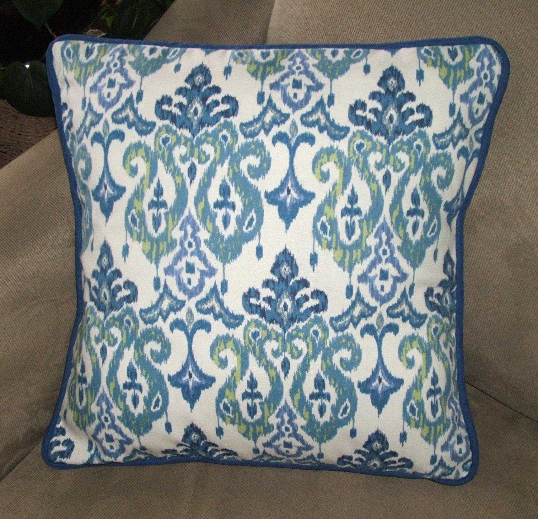 Decorative Pillows Indigo : Pillow Cover, Indigo Blue, Ikat Design, Throw Pillow Cover, Decorative Pillow Cover, Indigo ...
