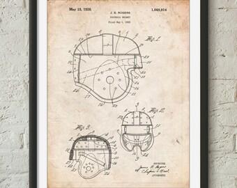 Football Helmet 1925 Patent Poster, Leather Helmet, Football Wall Art, Sports Wall Decor, Coach Gift, PP0218