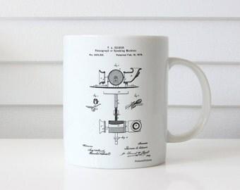 T. A. Edison Phonograph Patent Mug, Thomas Edison, Music Room Mug, Record Player, Industrial Decor, Music Lover,PP0622