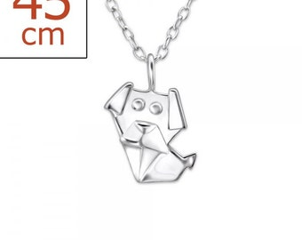 The Little Origami Dog Necklace - 925 Sterling Silver - 18 inches - JB8261