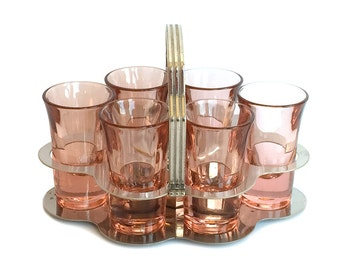 RESERVED for C—Vintage Tall Shot Glasses Pale Rose Pink Chrome Caddy Six 1940s