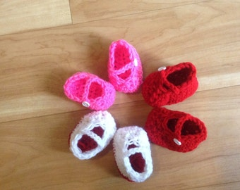 Baby Girl Infant Girl Crochet Mary Jane Shoes. Baby Girl Valentine Accessories