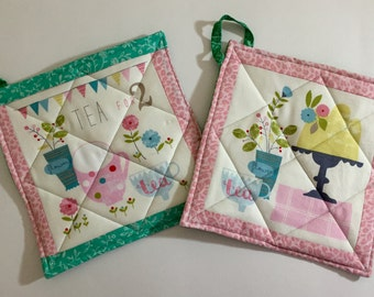 LABOR DAY SALE! Tea Party Quilted Pot Holders (2)