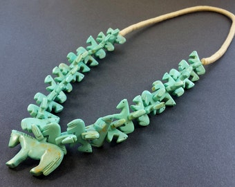 Hand Carved All Horse Fetish Necklace with Squaw Wrap Neckline