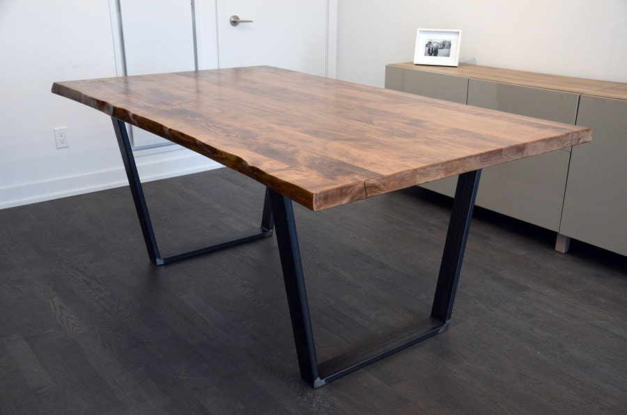 Live Edge Solid Maple Kitchen Dining Table Trapezoid Legs