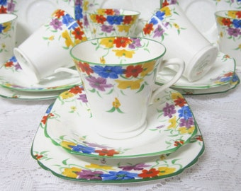 Art Deco Tea Trio by Collingwood China, Hand Painted, Colourful Flowers